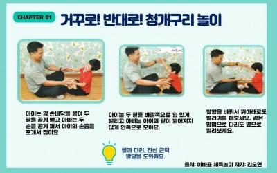 CHAPTER01 거꾸로! 반대로! 청개구리 놀이/ 왼쪽 첫번째 그림: 아이와 아빠가 손을 포개고 앉아있습니다./ 글:아이는 양 손바닥을 붙여 두 팔을 곧게 뻗고 아빠는 두 손을 곧게 펴서 아이의 손등을 포개서 잡아요./ 가운데 그림: 아이와 아빠가 팔을 벌리고 반대로 힘을 주고 있습니다./ 글:아이는 두 팔을 바깥쪽으로 힘 있게 벌리고 아빠는 아이의 팔이 벌어지지 않게 안쪽으로 모아요./세번째 그림: 아이와 아빠가 마주 앉아 팔을 위아래 반대로 힘을 주고 있습니다./글: 방향을 바꿔서 위아래로도 벌리기를 해보세요. 같은 방법으로 다리도 옆으로 벌려보세요./ 글: 팔과 다리, 전신 근력 발달을 도와줘요./ 출처: 아빠표체육놀이 저자:김도연